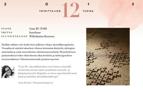 Sisustustoimittajat palkitsivat GranRU Porin!
